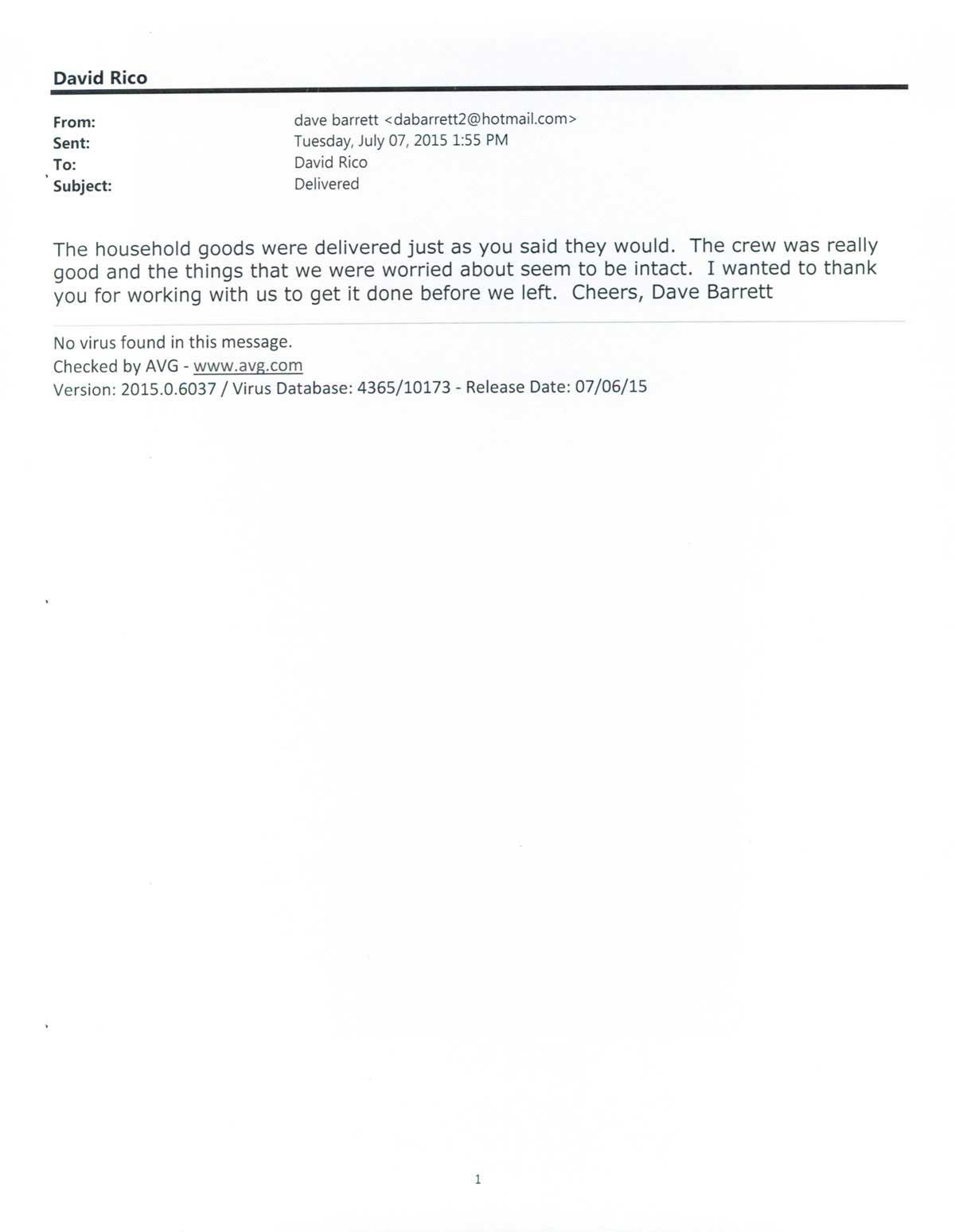 Testimonial #82- Dave Barrett